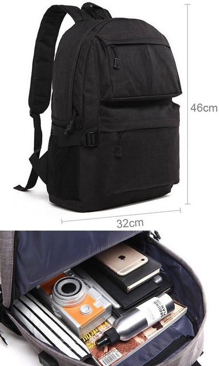 15.6 Inch Laptop Travel Backpack With USB Charging Port Black