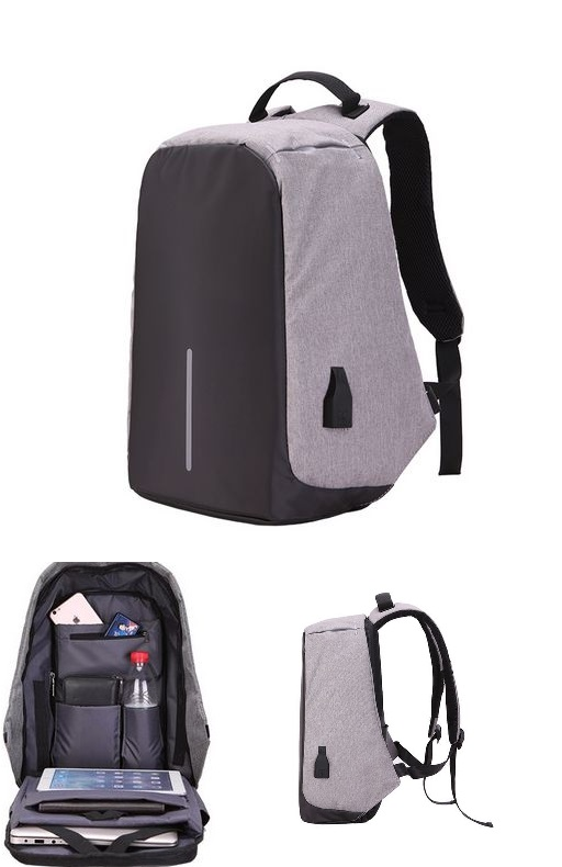 Large Capacity Laptop Backpack With USB Charging Port Grey