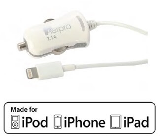 MFI Lightning Car Charger White