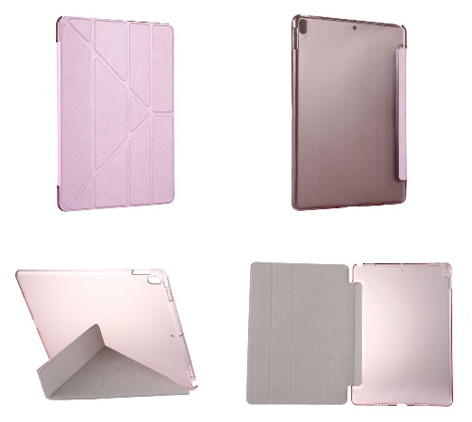 iPad Pro 10.5 Inch Multi Fold PU  Leather Case And Stand Pink