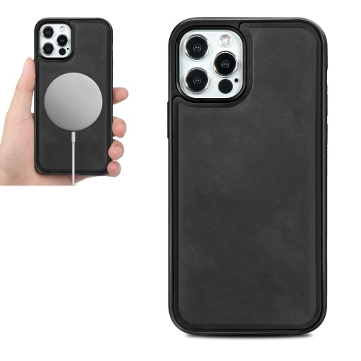 Magsafe TPU Case With Leather Surface For iPhone 12 Pro Max Black
