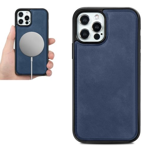 Magsafe TPU Case With Leather Surface For iPhone 12 Pro Max Blue