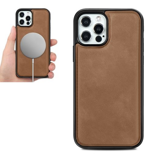 Magsafe TPU Case With Leather Surface For iPhone 12 Pro Max Brown