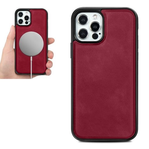Magsafe TPU Case With Leather Surface For iPhone 12 Pro Max Red