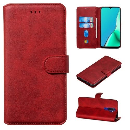 Oppo A9 2020 PU Leather Case Red