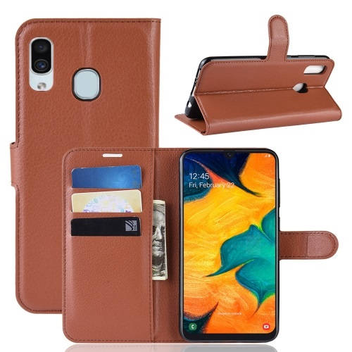 Samsung Galaxy A30 PU Leather Case Brown