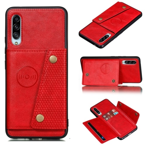 Galaxy A90 5G PU And TPU Case with Card Slots Red