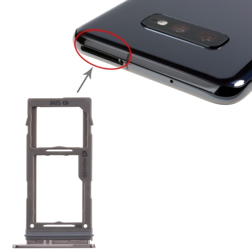 SIM Card Tray With Micro SD Card Tray for Galaxy S10 Plus / S10 / S10e Black