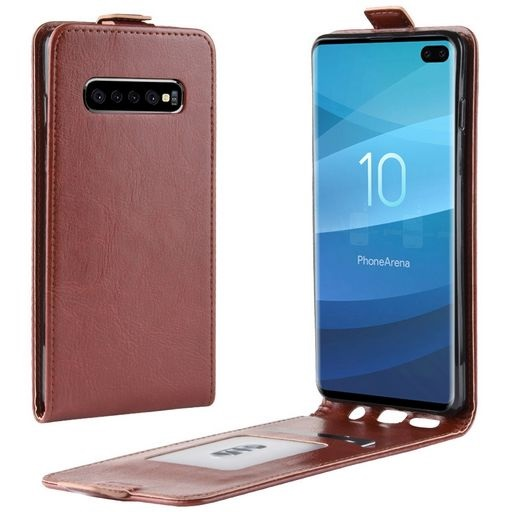 Vertical Flip PU Leather Case For Galaxy S10 Plus Brown