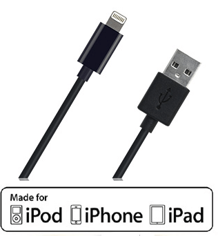 MFI Lightning USB Charging And Data Cable Black